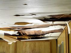 I Repaired, Remodeled, and Restored an Old RV Camper Damaged ceiling caused by leaking roof. The entire ceiling needs recovering and bracing up.Damaged ceiling caused by leaking roof. The entire ceiling needs recovering and bracing up. Airstream, Do It Yourself Camper, Kangoo Camper, Camper Repair, Rv Roof Repair, Old Campers, Happy Campers, Vintage Rv, Vintage Campers