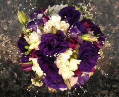 Purple  Whites with pearls. Wedding Bouquet. contemporary-bridal-bouquets