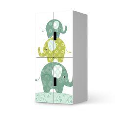 Hochwertige Klebefolie für Stuva Schrank - 4 kleine Türen mit dem Design Elephants. Unsere Folie ist einfach aufzubringen und leicht wieder abzulösen.