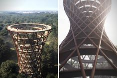 Camp Adventure Observation Tower, Haslev - A treetop adventure park with unique architecture, ropes courses, ziplines and forested paths.
