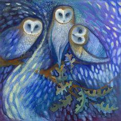 Owls of the Aurora Borealis, oil pastel by Jane Wilcoxson