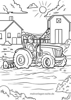 Malvorlage / Ausmalbild Bauernhof Traktor auf dem Feld Tractor Coloring Pages, Farm Animal Coloring Pages, Coloring Pages For Boys, Coloring Book Pages, Coloring Sheets, Children's Book Illustration, Character Illustration, Line Art Images, Line Art Vector