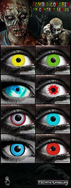 Add some color and character to your zombie creatures & makeup effects. How abo… – Colored Contacts Bloğ Cool Contacts, Green Contacts Lenses, Colored Contacts, Eye Contacts, Halloween Contacts, Halloween Eyes, Halloween Skeletons, Zombie Eyes, Zombie Makeup