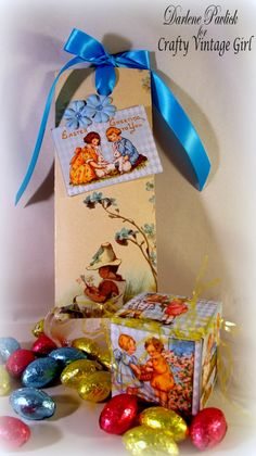 Chocolate Bar Wraps and Treat Boxes by Darlene Pavlick using Crafty Secrets Printable Forget-Me-Not Paper and Bunny Mini Box