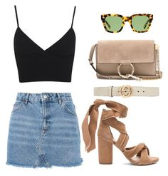 """Untitled #3555"" by camilae97 ❤ liked on Polyvore featuring Topshop, Miss Selfridge, Raye, Gucci and Chloé"