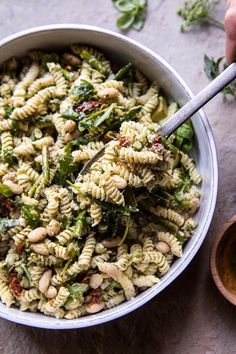 Sun-Dried Tomato, White Bean, and Goat Cheese Pasta Salad   halfbakedharvest.com #quick #healthy #easyrecipes #salad