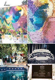 https://flic.kr/p/byZEEi | decor2 | Paper Installation: Green wedding Shoes Fiesta-inspired backyard: Green Wedding Shoes Love on the Rock Signage: Rock N' Roll Bride Perfect Chalkboard Menu: SMP