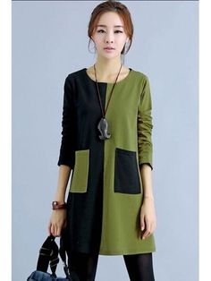 Color Block Loose Day Dress