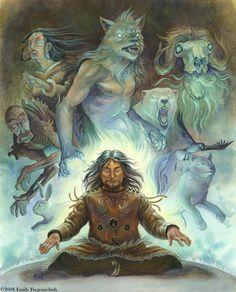 Shaman:  Inuit Shaman illustration for the Inuit Mythology Initiative, by Emily Fiegenschuh.