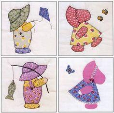 Sunbonnet Sue Visits Quilt in a Day by Eleanor Burns, including Sunbonnet Sue panels) Free Sunbonnet Sue Quilt Pattern Quilt Baby, Baby Quilt Patterns, Applique Patterns, Applique Quilts, Quilting Patterns, Doily Patterns, Fabric Patterns, Quilting Fabric, Sunbonnet Sue