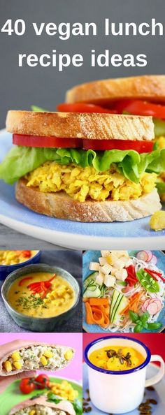 40 Easy Vegan Lunch Recipe Ideas - creative sandwiches and wraps, flavourful dips, hearty salads, and nutritious soups. All gluten-free and refined sugar free. Great for summer picnics and healthy packed lunches! #vegan #vegetarian #dairyfree #lunch #summer #glutenfree #plantbased #healthy #packedlunch #picnic #sandwich #salad #soup