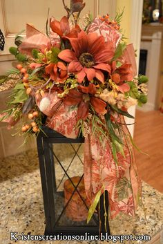 Kristen's Creations: I like the deep coral and green decorations on this lantern.
