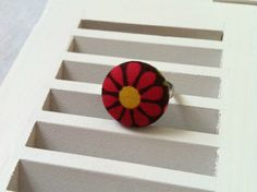Dark Pink Flower Fabric Covered Button Ring