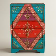 Hand-painted turquoise 5-drawer chest