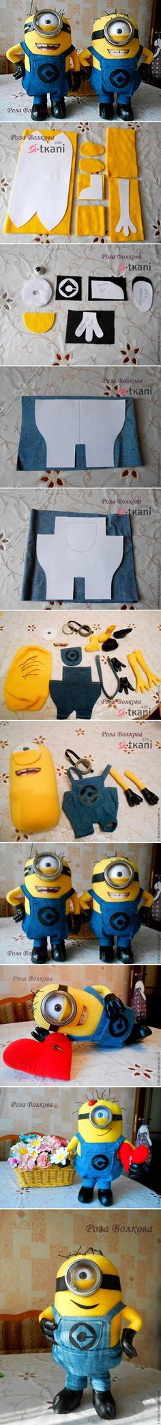 DIY Minion Dolls see written instructions at http://www.livemaster.ru/topic/428177-minen-iz-flisa