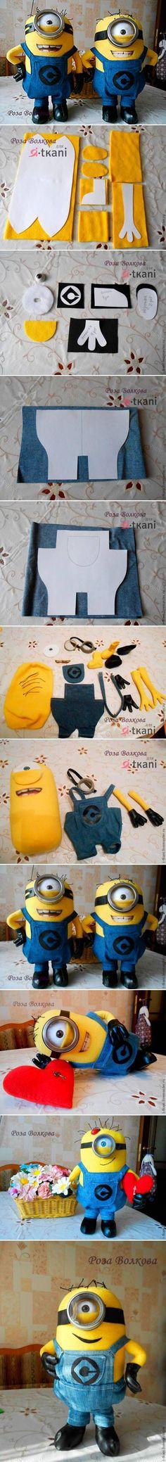 DIY Minion Dolls see written instructions at http://www.livemaster.ru/topic/428177-minen-iz-flisa