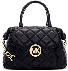 MICHAEL BY MICHAEL KORS  Black Large Fulton Quilted Leather Satchel Bag