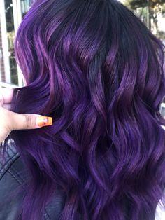 Deep Purple Hair, Violet Hair, Pink Hair, Eggplant Colored Hair, Eggplant Hair, Hair Dye Colors, Cool Hair Color, Hair Highlights, Fall Hair