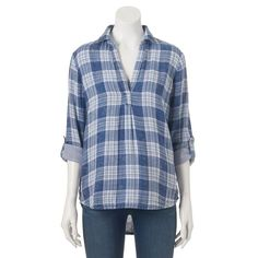 Women's SONOMA Goods for Life™ High-Low Hem Plaid Shirt, Blue (Navy)