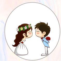 Cute Love Cartoons, Wedding Art, Party In A Box, Logo Sticker, Hampers, Wedding Invitation Design, Embroidery Art, Wedding Trends, Scrapbook Paper