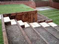 tiered garden idea with grassy area