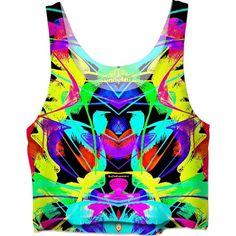 63987503f7 BigTexFunkadelic Neon Rainbow Mystique Crop Top