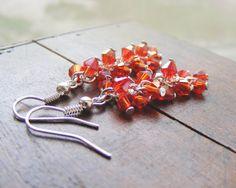 Red cluster earrings #earrings #jewelry #handmade