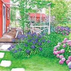 Landhausgarten in zarten Farben