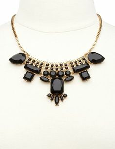 Faceted Stone & Rhinestone Bib Necklace: Charlotte Russe
