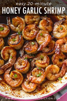 This simple and healthy 20 minute honey garlic shrimp comes together in no time! Shrimp Recipes For Dinner, Shrimp Recipes Easy, Seafood Recipes, Cooking Recipes, Healthy Recipes, Recipes With Cooked Shrimp, Garlic Shrimp Recipes, Shrimp And Scallop Recipes, Chinese Shrimp Recipes
