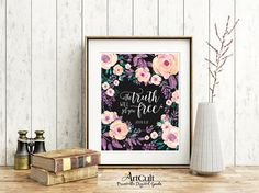 """Printable artwork for home decor """"The truth will set you free"""" bible verse scripture print-it-yourself art, digital download ArtCult designs"""