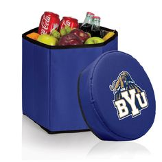 Take this versatile BYU Cougars cooler wherever your busy life leads you. The Seat Cooler is a six-sided food and beverage tote that boasts a fully insulated, water-resistant liner, a shoulder strap and padded cushion top lid. With the ability to hold up to 28 drink cans at a time, there is plenty of room for a picnic lunch. It's light weight, durable construction gives this cooler the ability to double as a seat. Maximum weight capacity 250 lbs. Easily collapsible the BYU Cougars Bongo c...