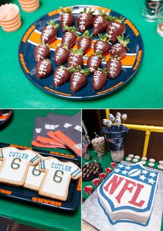 Stay home with NFL's home gating collection! Throw a Sunday football party YOURSELF and impress your friends with this DIY chocolate strawberry footballs!  NFL Sunday Social Party Pictures + Game Day Pinterest Table