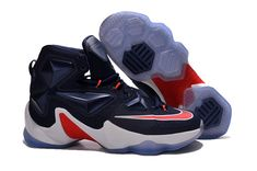 best service 33b74 1cea9 2016-2017 Sale Lebron 13 XIII Entourage USA Navy Blue Red White New Arrival  2016