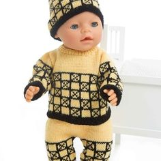 Genser, lue og bukse - Viking of Norway Baby Knitting Patterns, Norway, Vikings, Christmas Sweaters, Doll Clothes, Trousers, Dolls, Crafts, Sweater Hat