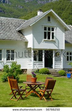 Norwegian wooden house- love the porch