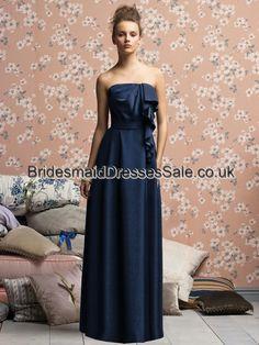 A-line Strapless Chiffon Dark Navy Floor-length Bridesmaid Dress(BM0100173)