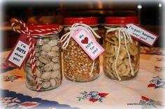 Super cute & healthy gifts...Pistachios (12oz Clear Canning Jar) Popcorn (16oz Square Mason Canning Jar) Bananas ( 16oz Economy Canning Jar) all with fun Red Plastisol lids (G70 CT Red Plastisol)