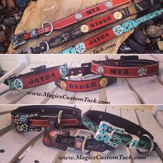 Magics Custom Tack Leather stamped bling dog collars with your dog's name Www.magicscustomtack.com