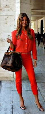 All Red & a faux fur bag !