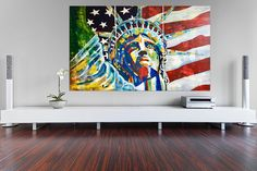 Voici ce que je viens d'ajouter dans ma boutique #etsy: Statue of Liberty Freedom Stars by Kathleen Artist On Order Art Acrylic Painting New York City USA Made On Order Large Wall Art Gifts I LOVE NYC American Flag New York Home Decor #peinture #art #rouge #bleu #newyorkdecor #nycpainting #nycart #nycwallart