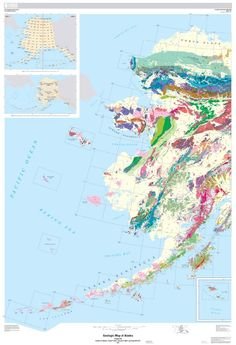 USGS Researchers Reveal First-Ever Digital Geologic Map of Alaska. Above: geologic map of the western part of Alaska and the Aleutian Islands. Image credit: U.S. Geological Survey / U.S. Department of the Interior.