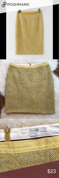 """Boden Yellow Wool Freya Pencil Skirt Boden wool-blend freya pencil skirt in very good condition. Classic yellow herringbone- the epitome of retro ladylike glamour. Knee-length design that looks perfect paired with heels or boots. Sits at waist. Concealed back zipper. Back vent. Fully lined. Length is about25,"""" waist is approximately 40."""" 39% wool, 15% polyamide, 14% acrylic. Size 16. Note - last photo included to see how it looks on model. Boden Skirts Pencil"""