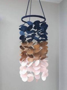 Marine Rose, Bleu Marine, Baby Bedroom, Kids Bedroom, Blue Nursery Girl, Paper Mobile, Decoration, Girl Room, Origami
