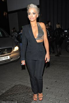 Rita Ora exposes her silver bra in a cutaway jacket for The Voice night out | Daily Mail Online