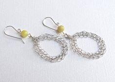 Silver crochet hoop drop earrings with jade gem stone. by ByDrora