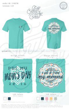 Phi Mu | Mom's Day | I Got if From my Mama | Quatrefoil T-Shirt Design | South…