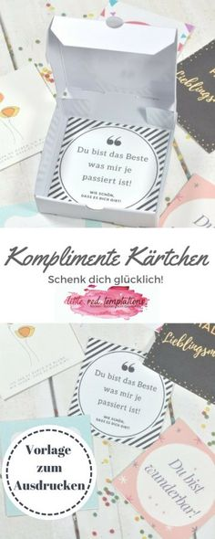 {just happy} give away compliments with compliment cards - Craft Free Gift Cards, Stamping Up, Love And Marriage, Craft Gifts, Free Printables, Place Card Holders, Cards Against Humanity, Valentines, Learning