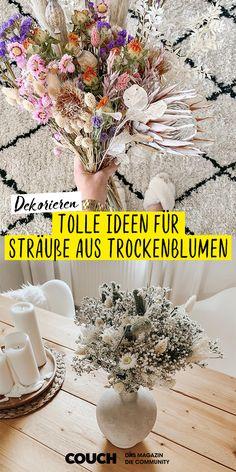 Wir lieben den Dekotrend mit Trockenblumen und zeigen euch hier die schönsten Sträuße von BohoStyleLiving, DeborahWi und vielen mehr! #trockenblumen #blumenstrauß #blumen #blumenvase #deko #dekoideen #COUCHstyle Trends, Table Decorations, Interior Design, Diy, Home Decor, Vase For Flowers, Good Day, Sunflowers, Exotic
