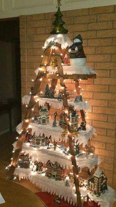 christmas ornaments christmas tree village display ladder christmas tree christmas town christmas
